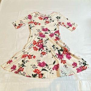 Flower print Quarter sleeve dress